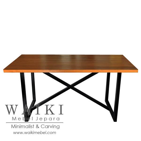 Meja Cafe Kayu Besi Panjang Iron Wood Cafe Table
