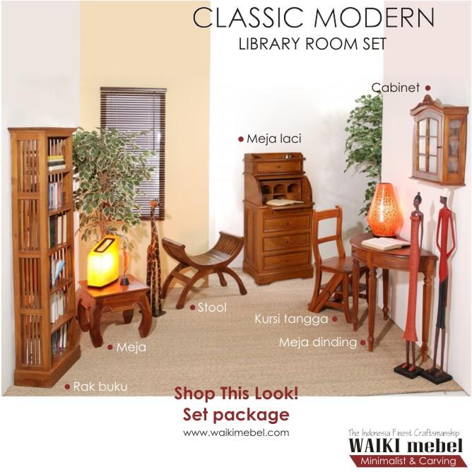 Jual 1 Set Furniture Ruang Baca Perpustakaan Gaya Classic Modern