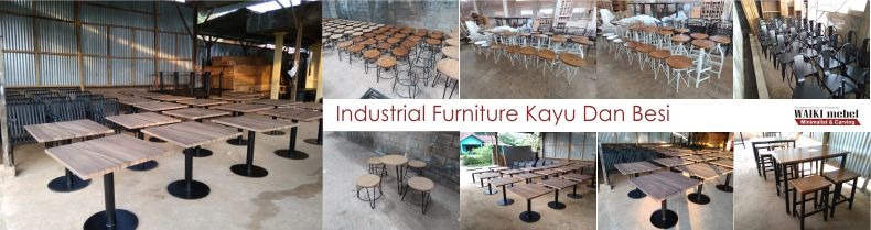 Industrial Furniture Kayu Dan Besi Waiki Mebel