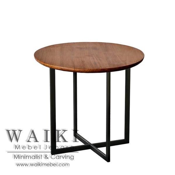 Meja Cafe Kayu Besi Minimalis Iron Wood Cafe Table Industrial Jepara
