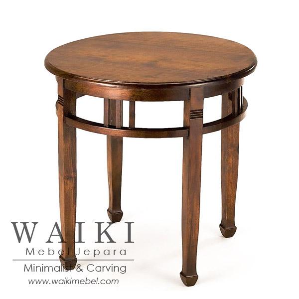 Meja Nakas Batavia Bundar Jati Waiki Mebel Jepara Teak Furniture
