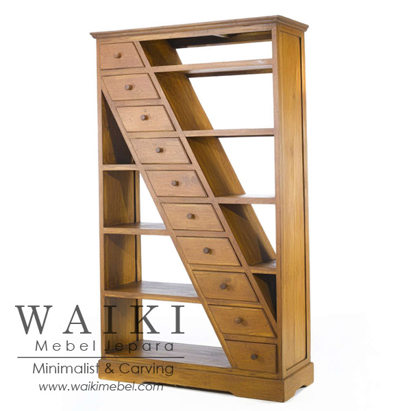 Rak Buku Minimalis Jati Jepara Teak Furniture Rack Bookcase